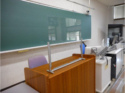 A transparent sheet to prevent droplet infection installed in front of the faculty's desk in all classrooms