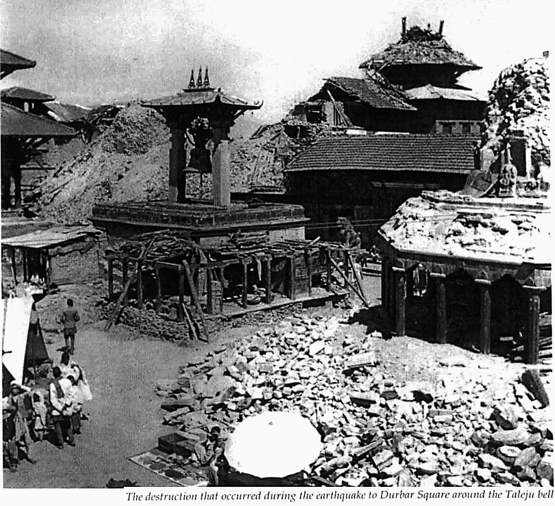 Mangal Bazar (former) in the Patan region, destroyed by the earthquake in 1934