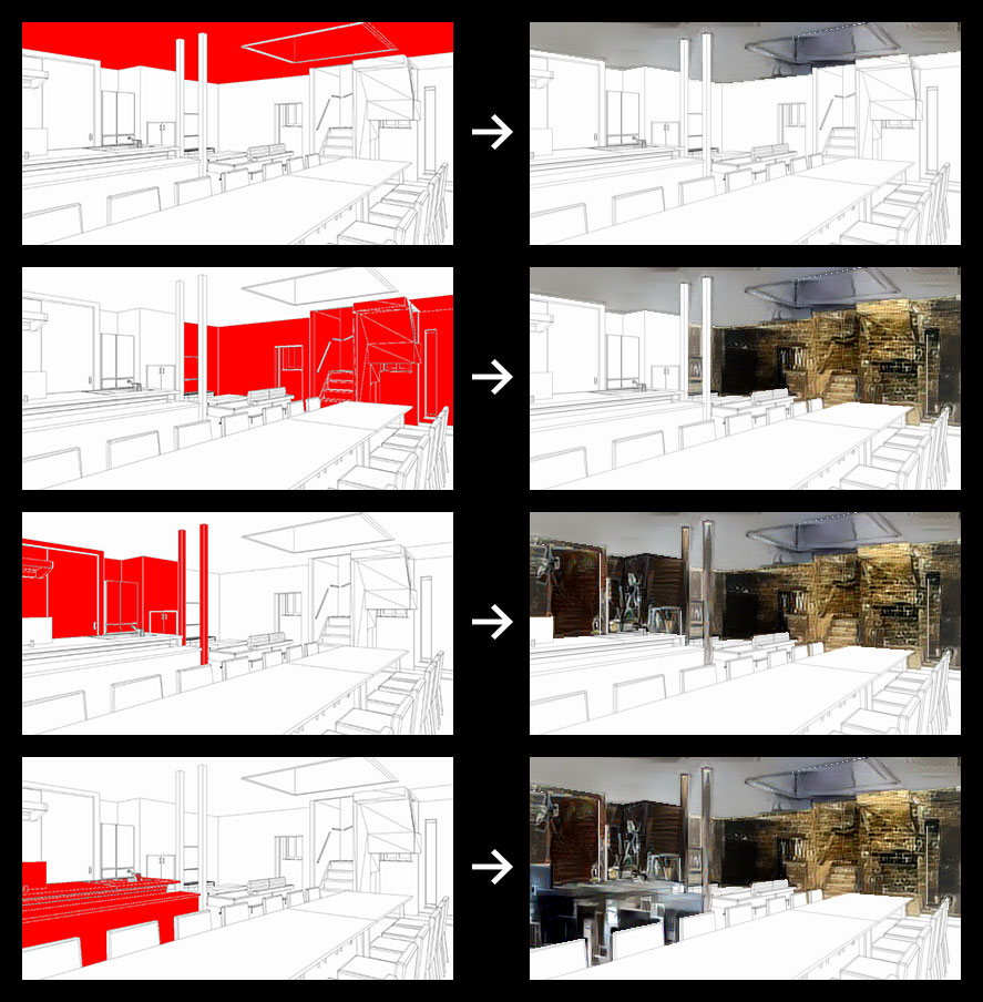 Simulating an interior image by transferring various styles of photographs onto different areas in an interior perspective drawing.